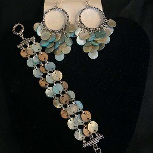 Lia Sophia Abalone bracelet and earring set